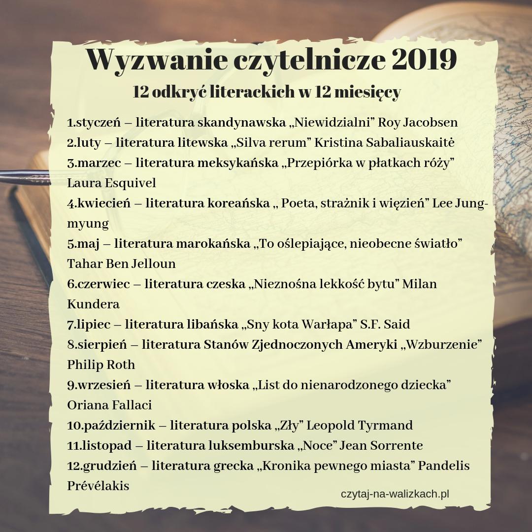 wyzwanie czytelnicze 2019 - 12 odkryć literackich na 12 miesiecych lista książek