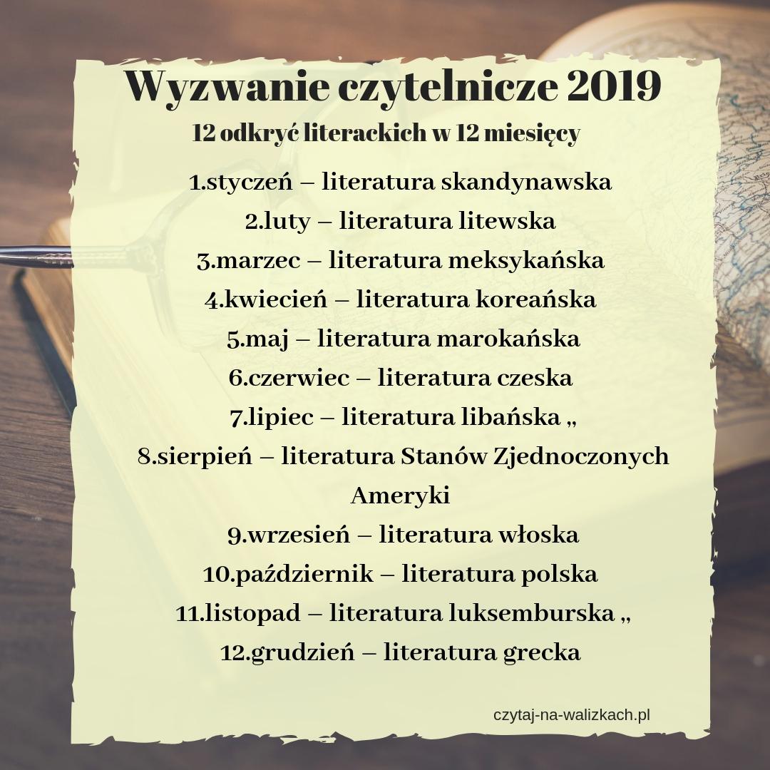 wyzwanie czytelnicze 2019 - 12 odkryć literackich na 12 miesięcy