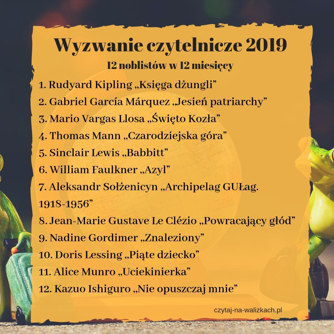 wyzwanie czytelnicze 2019 - 12 noblistów na 12 miesiecy - lista autorów i książek